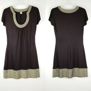 Brown and gold dress by Three Dots